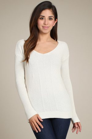 M-Rena Drop Shoulder Sweater w/ Reversible V-neck & Scoop Neck