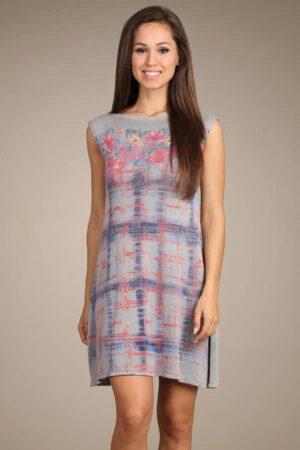 M.Rena Boat Neck Floral Knit Tunic Dress