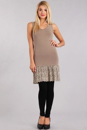 M-Rena Lace Trim Seamless Layering Tank Dress