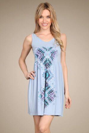 M.Rena Tribal Print Ribbed Babydoll Tank Dress