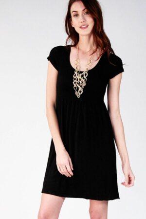 M-Rena Cap Sleeve Smocked Babydoll Dress