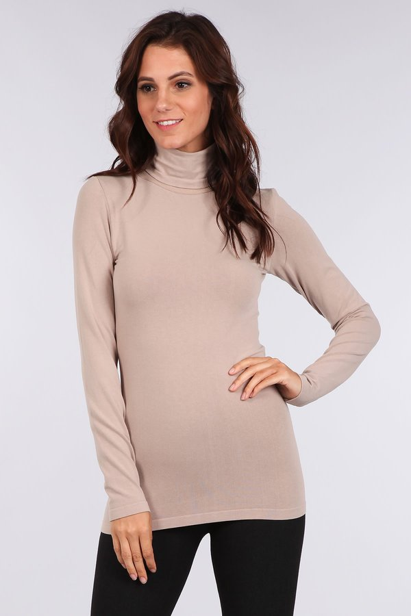 M. Rena Long Sleeve Turtle Neck Seamless Top