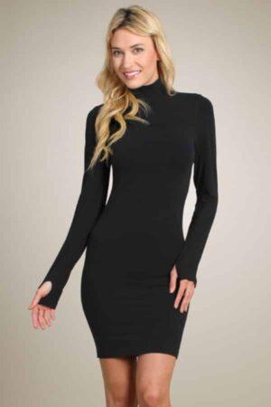 M. Rena Mock Neck Long Sleeve Bodycon Dress