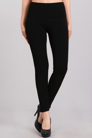 M. Rena Solid High Waist Warm Sweater Leggings