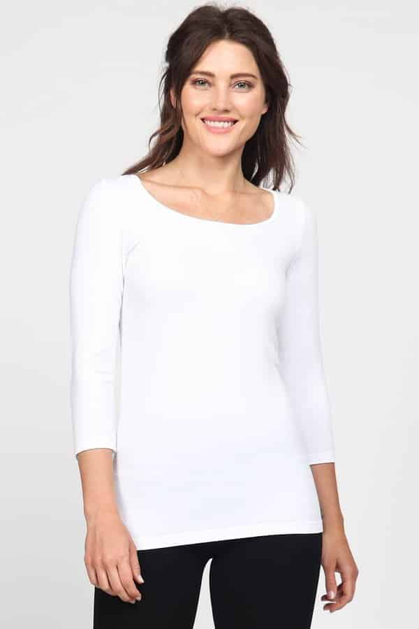 M. Rena Three-Quarter Sleeve Scoop Neck Tee