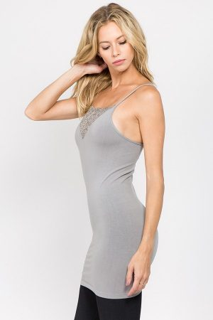 M. Rena Seamless Camisole with V-neck Lace Trim