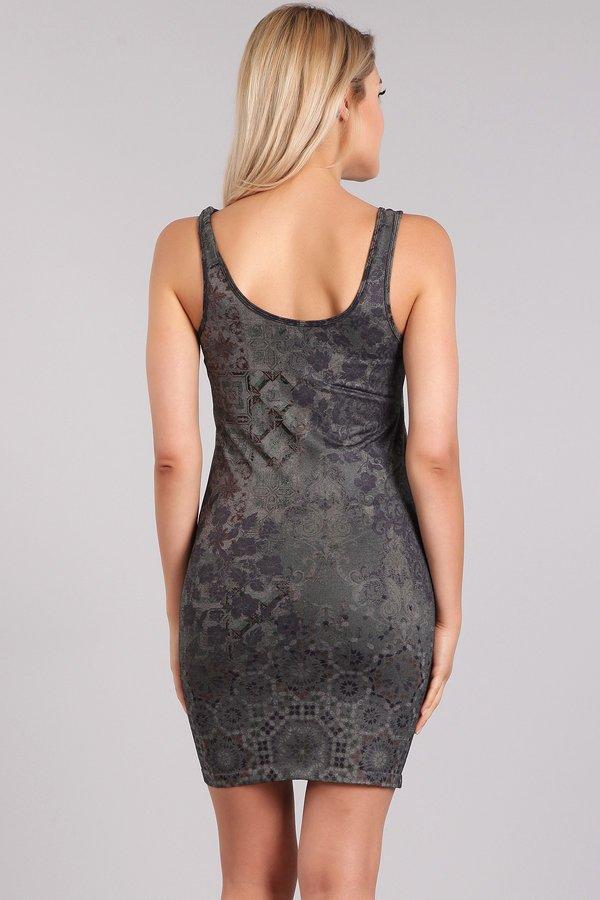 M. Rena Tile Sublimation Print Reversible Bodycon Tank Dress