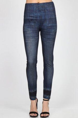 M. Rena Denim Print Tummy Tuck Leggings