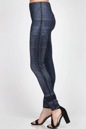 M. Rena Sublimation Denim Print Tummy Tuck Leggings