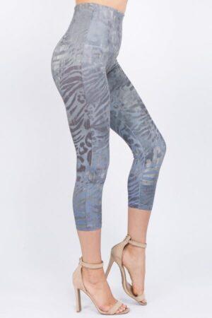 M. Rena Cropped Wild Safari Print Tummy Tuck Legging